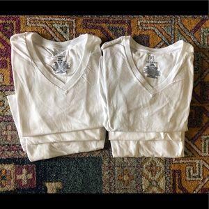 White V-Neck Shirts